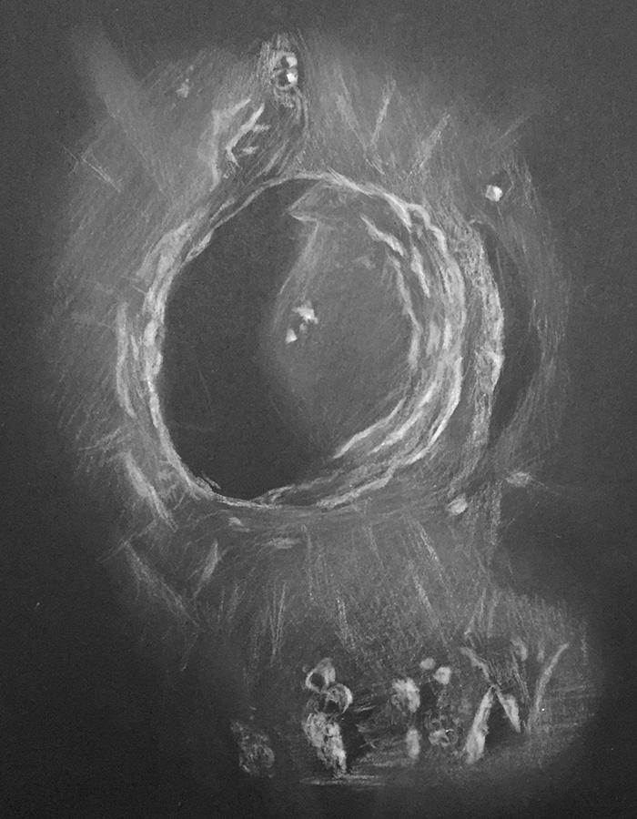 Cráter Copernicus, dibujado por Migue Pugnaire.