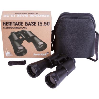 Prismáticos Levenhuk Heritage Base 15x50, caja y accesorios