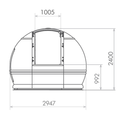 Dimensiones de cúpula ScopeDome 3M v3 en milímetros